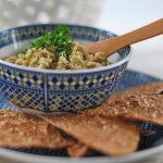 Moroccon Eggplant Dip w/ Cumin Dusted Sprouted Grain Tortillas