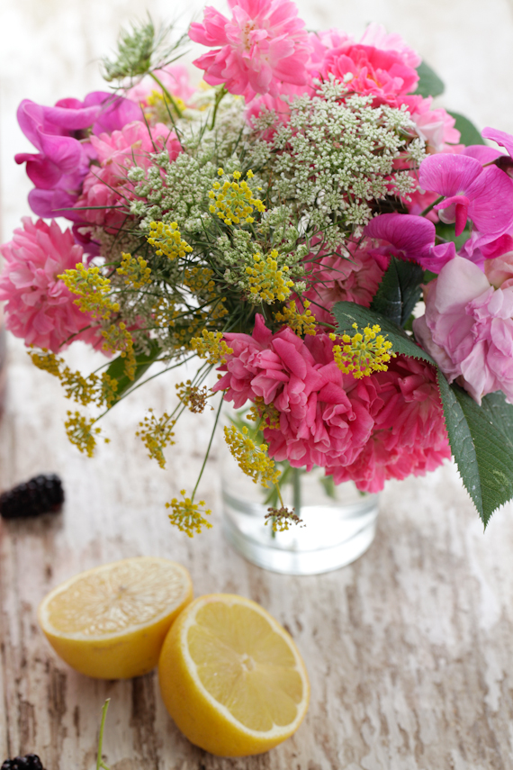 flowers, lemon & blackberries