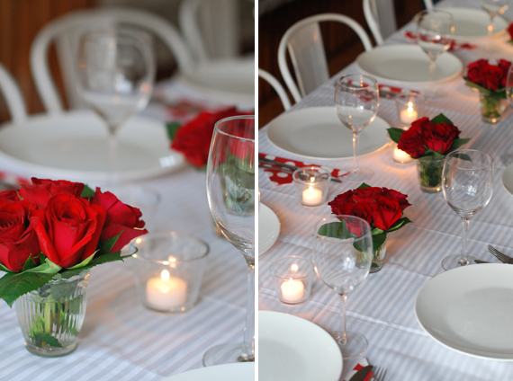 Red Flower And Candle Centerpiece Idea
